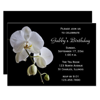 Carte Orchidée à l'invitation noire de fête