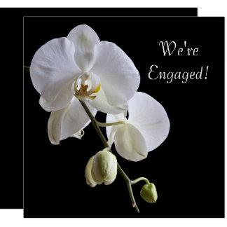 Carte Orchidée blanche à l'invitation noire de partie de