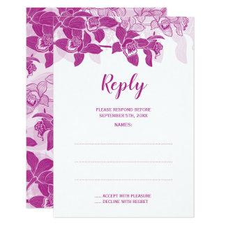 Carte Orchidées magenta élégantes épousant des cartes-