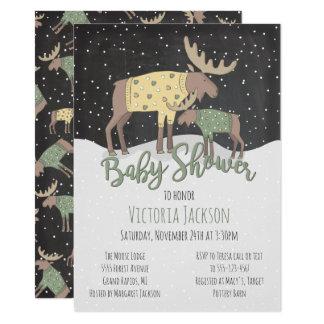 Carte Orignaux et baby shower rustiques de région boisée