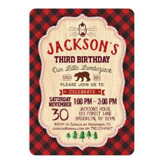 Carte Ours rouge de flanelle d'invitation d'anniversaire