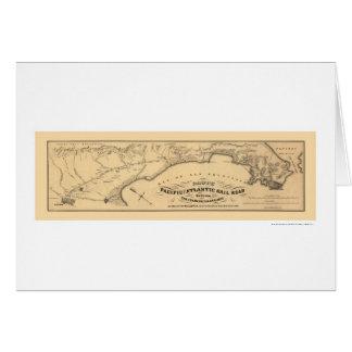 Carte Pacifique et atlantique 1851 de chemin de