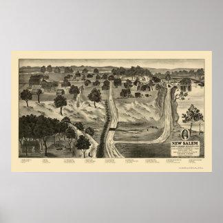 Carte panoramique de nouveau Salem, IL - 1837 Posters