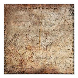 Carte Papier affligé de journal de voyage de globe de