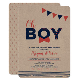 Carte Papier d'emballage, rouge et baby shower moderne