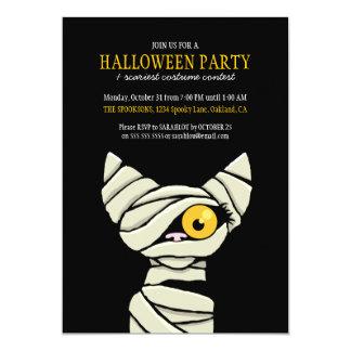 Carte Partie bandée éffrayante de Halloween de chat de