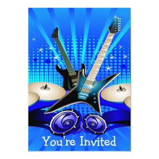 Carte Partie bleue de diplômé de guitares électriques,