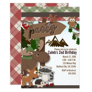 Carte Partie d'anniversaire de enfant d'amis de forêt de