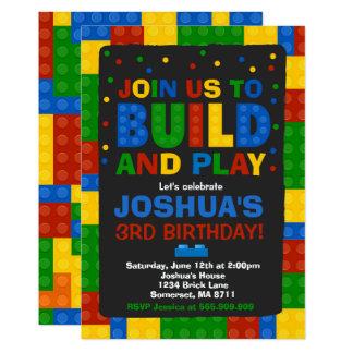Carte Partie de briques d'invitation d'anniversaire de