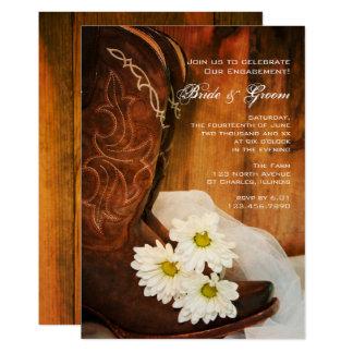 Carte Partie de fiançailles de pays de bottes de cowboy