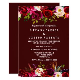 Carte Partie de fiançailles florale de ressort de