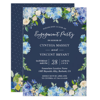 Carte Partie de fiançailles florale d'hortensias de bleu