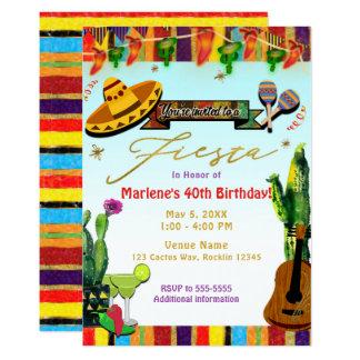 Carte Partie de fiesta de Cinco De Mayo de cactus de