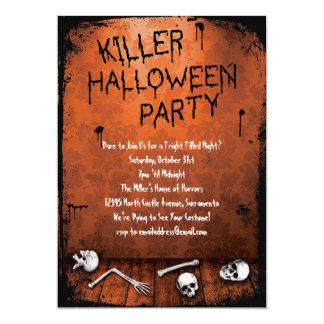 Carte Partie de Halloween de tueur avec des crânes