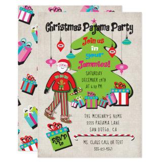 Carte Partie de pyjama de Noël avec Père Noël et des