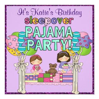 Carte Partie de pyjama de Sleepover de fille