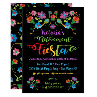 Carte Partie de retraite mexicaine de fiesta de broderie