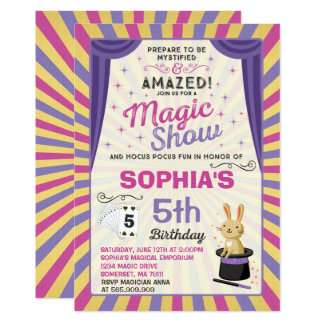 Carte Partie de spectacle de magie d'invitation