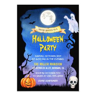 Carte Partie éffrayante de Halloween de citrouille de