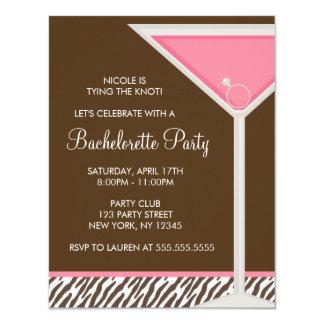 Carte Partie en verre rose de Martini Bachelorette