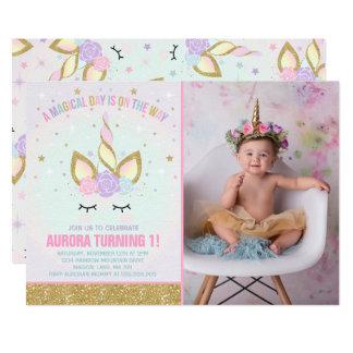 Carte Partie magique de licorne d'invitation
