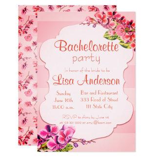 Carte Partie rose de Bachelorette de fleur d'orchidée