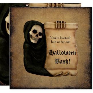 Carte Partie sale de Halloween de rouleau et de crâne de