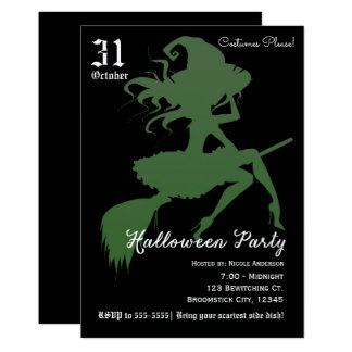 Carte Partie verte de Halloween de manche à balai de