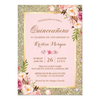 Carte Parties scintillantes florales roses d'or de