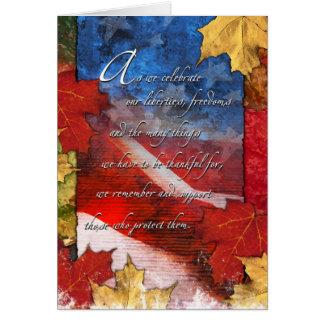 Carte patriotique de thanksgiving de drapeau des
