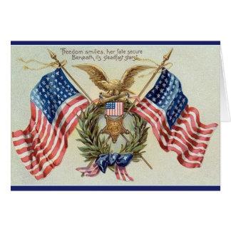Carte patriotique vintage de drapeau de bannière