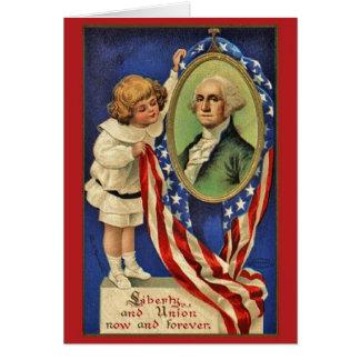Carte patriotique vintage de George Washington