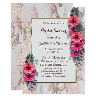 Carte Pavots nuptiales de rouge d'invitations de douche