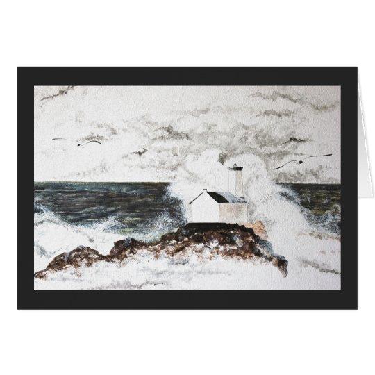carte peinture aquarelle phare tempête mer vagues