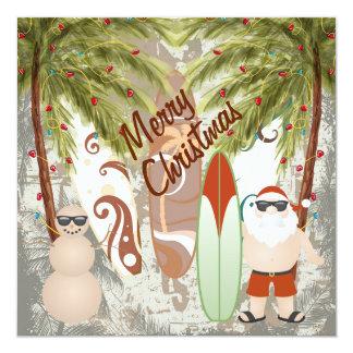 Carte Père Noël et salutation de Joyeux Noël de plage de