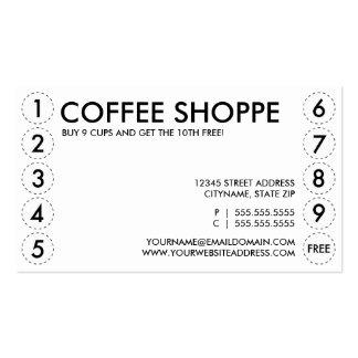 Carte perforée de MAGASIN de CAFÉ Carte De Visite Standard