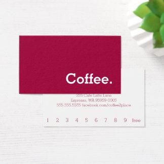 Carte perforée simple de café de fidélité de dos