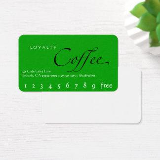Carte perforée verte de café de fidélité d'arrière