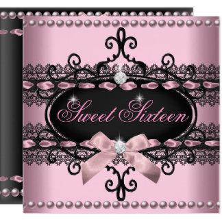Carte Perle noire rose de dentelle de sweet sixteen du
