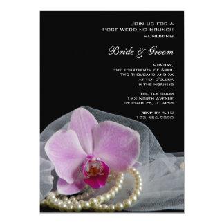 Carte Perles roses d'orchidée sur le brunch noir de