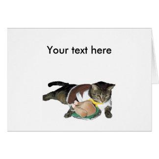 Carte personnalisable de chat de pèlerin