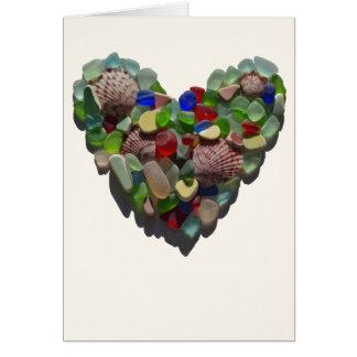 Carte personnalisable de coeur en verre de mer,