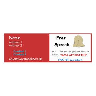 Carte personnelle de liberté de parole carte de visite petit format