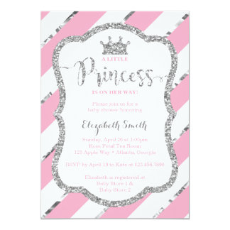 Carte Petit argent de rose d'invitation de princesse