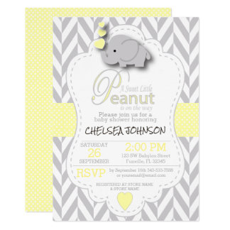 Carte Petit baby shower doux d'éléphant d'arachide -
