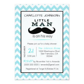 Carte Peu de baby shower de bleu de garçon de moustache