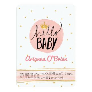 Carte Peu de baby shower royal de taches d'or de
