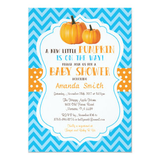Carte Peu de bleu Chevron d'invitation de baby shower de