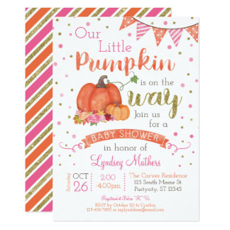 Carte Peu d'invitation de baby shower d'automne