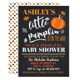 Carte Peu d'invitation de baby shower de citrouille